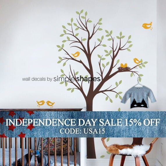 Independence Day Sale - Baby Nursery Wall Decal: Tree with Birds and Nest Decal - Original Design by Simple Shapes