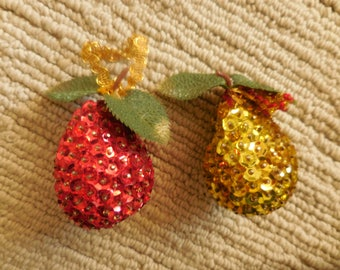 Two Beaded Fruit Ornaments