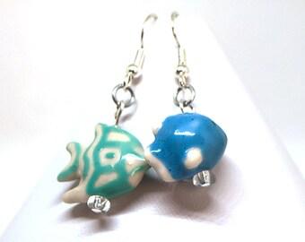 Mismatched  Earrings - Blue Fish Earrings - Seaside Earrings - Ceramic Earrings - Dangle drop earrings