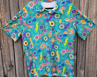 Teal Green Trapper Keeper Burst Bubbles Spandex Button Up Party Shirt