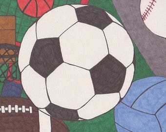 Sports Set Soccer Football Basketball Baseball Volleyball Print