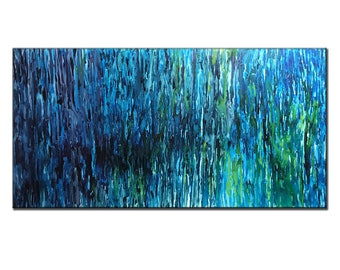 Abstract Painting ,Huge Blue Green Canvas Art ,Modern Abstract wall Art By Henry Parsinia 70x36