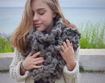 Oversized Scarf Chunky Scarf Hand Knit Scarf Blanket Scarf Christmas Gift for Women Gift for Her Under 50 Gray Scarf Grey Scarf Winter Gift