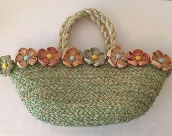 Vintage Raffia Floral Handbag~Basket Purse