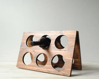 Vintage Wine Rack, Wood Wine Rack, Wine Holder, Collapsible Wine Rack