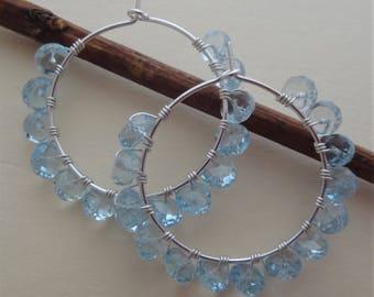 Beaded hoop earrings gemstone hoop earrings blue and silver hoops sky blue topaz earrings sky blue topaz silver wire wrapped hoops handmade