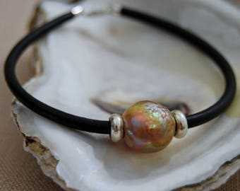 Cassie - Kasumi Type Nucleated Pearl and Leather Bracelet, pearl jewelry, bracelet, leather bracelet, pearl bracelet, fashion, jewlery, gift