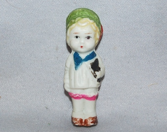 Cute Bisque Doll / Student / Book /  frozen charlotte / penny doll / Vintage dolls