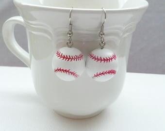 nd-Resin 3D Softball Ball Dangle Earrings