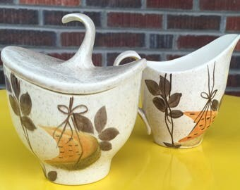 Red Wing Pottery Futura Tampico Sugar and Creamer, mid century pottery