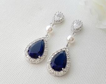 Blue Wedding Earrings, Something Blue, Dark Sapphire Blue, Crystal Drop Earrings, Swarovski Pearls, Blue Wedding Jewelry, Aoi