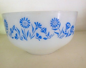 Vintage Mixing Bowl, Milk Glass & Blue Cornflowers, Federal