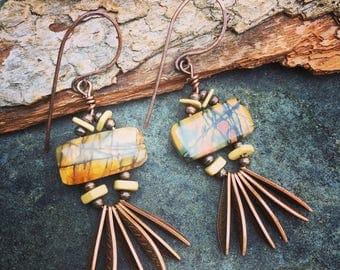 Fringe Earrings in Red Creek Jasper, Dangle Earrings, Jasper Earrings, Copper Earrings, Tribal Earrings by YaYJewelry