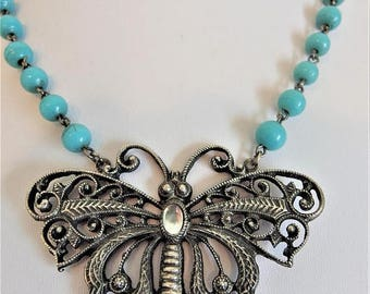 ON SALE Pretty Vintage Large Silver Butterfly Turquoise Glass Bead Necklace