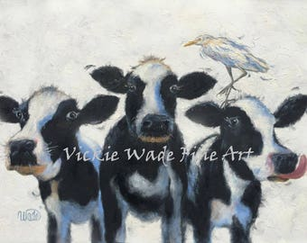 Cow Painting 18X24 inch animal ORIGINAL oil painting, cowbird, holstein cows, cattle egret, three cows, Vickie Wade Art