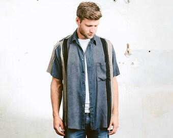 Men's Summer Pattern Shirt . Monochrome Watercolour Print Vintage 90s Beach Shirt Short Sleeve Shirt Hawaiian Print Shirt . size Medium