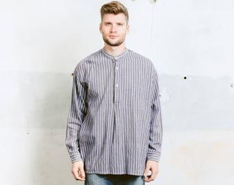 Men's Collarless Work Shirt . Vintage Men's Striped Workwear Shirt Flannel Band Collar Minimalist Dress Shirt . size Extra Large XL