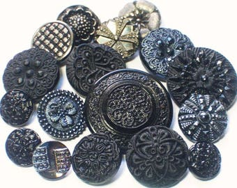 Mixed Lot Black Glass Sewing Collectible Buttons Different Kinds all shanks