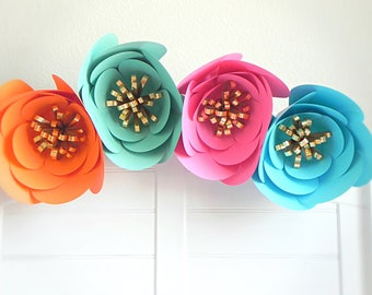 Giant Paper Flowers, Paper Flower Wall, Giant Flower, Large Paper Flowers, Tropical Wedding Decor, Fiesta Paper Flowers, Flower Backdrop