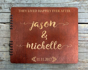 Wedding Happily Ever After 8.5x7 Baltic Birch Wood Personalized Album Guest Book Guest Sign In Custom Hardcover Guestbook for Future Mr Mrs