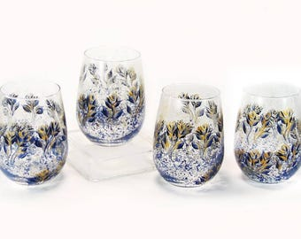 Blue and Gold Stemless Wine Glasses - Hand Painted Midnight Navy Blue and Gold Roses Set of 4 - Navy and Gold Gift Ideas Beverage Glasses