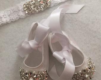 Christening Shoes Baptism Shoes & Headband Infant Baby Girl