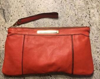 SUMMER SALE 50s 60s Orange Leather Clutch Purse