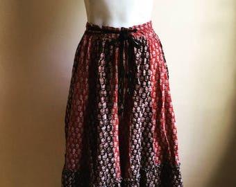 SUMMER SALE Vintage. Rare Color Block Indian Wrap Skirt •  Gypsy Boho Skirt  Small