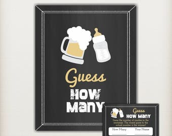 A Baby is Brewing Baby Shower Game, Guess How Many Candies, Co-ed Couples Baby Shower, Black and Gold - PRINTABLE, INSTANT DOWNLOAD