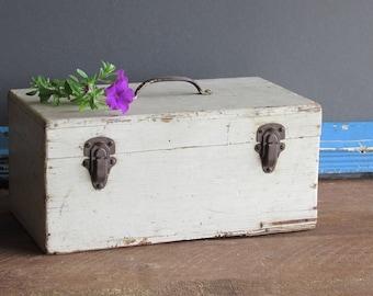 wooden box - handmade vintage box/tool box/ craft supplies - hobby - storage