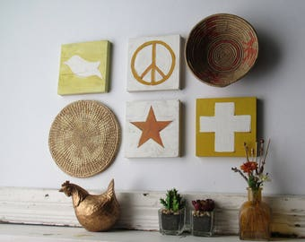 6 piece wall collage / Peace-Love and Happiness / straw wall art/boho decor