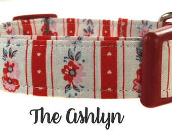 Red and Pink Floral Dog Collar - The Ashlyn