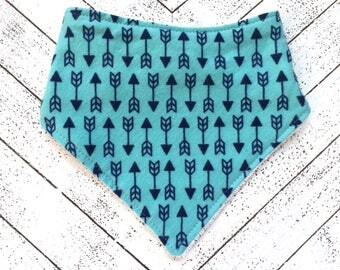 Teal Turquoise Arrow Print Bib - Bibdana - Bandana Style Drool Bib - Baby Boy Gift - Tribal Style - Southwest Style - Boho Baby