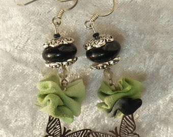 Earrings black butterflies with hand painted silk chiffon