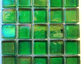 """15mm (3/5"""") Bright Green Iridescent Transparent Glass Mosaic Tiles//Mosaic Supplies//Mosaic//Crafts"""
