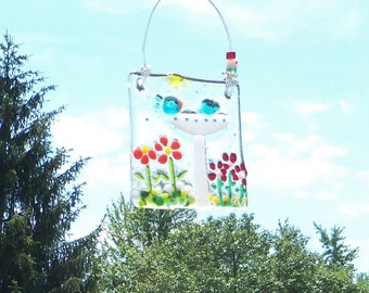 Blue Birds of Happiness // Bird Bath // Field of FLowers Fused Glass Suncatcher // Garden /Colorful /  Sunshine//Mothers Day //Cute //Bright