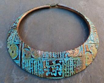 Asian distressed polymer clay cuff bib necklace