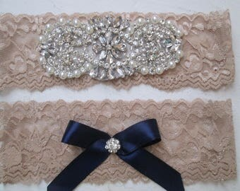 Champagne & Navy Blue Wedding Garter Set, Nude Lace Bridal Garters, Rhinestone- Crystal Garter, Something Blue, Rustic- Country Bride