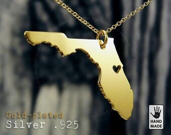 Gold FLORIDA State Map Handmade Personalized Goldplated Sterling Silver .925 Necklace in a gift box
