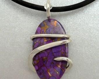 Kingman Purple Turquoise Silver Wrapped Pendant Necklace, Turquoise necklace, wire wrapped, Gemstone necklace, Silver wrapped, Purple stone