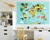 World Map Wall Decal, World Map Wall Sticker, Jungle Animals Themed World Map for Kids Room, Playroom World Map Wall Sticker, Peel and Stick