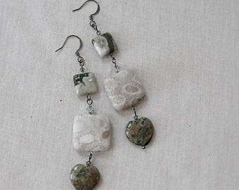 Ocean Jasper and Coral Fossil Heart Earrings with Silver Crystals, Cream, Green, Gunmetal, Silver