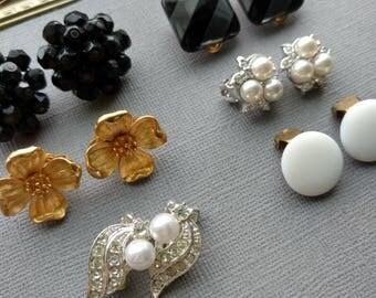 Clip On Earring Lot - Vintage Craft Lot- Jewelry Lot - Black Gold White Rhinestone  Earrings for craft- D141