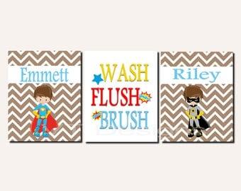 Superhero Bathroom Art, Brothers Bathroom Decor, Kids Bathroom Art, Wash Brush Flush, Chevron, Shared Bathroom, Canvas or Prints Set of 3