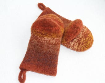 Pumpkin Orange Knit Felted Wool Oven Mitt Set, Rust, Cream, Gold Knit Felted Oven Mitts Wool Oven Glove Set, Hostess Gifts, Kitchen Gift