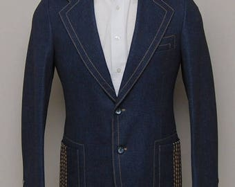 SALE 1970s men's blue denim blazer/ 70s men's denim blazer