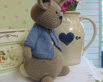 Lovely crochet bunny doll Peter Rabbit with knitted blue cardigan