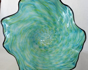 Beautiful Hand Blown Glass Art Wall Platter Bowl 7756  ONEIL