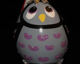 Hand Decorated Egg-Shaped Ornament (Owl)