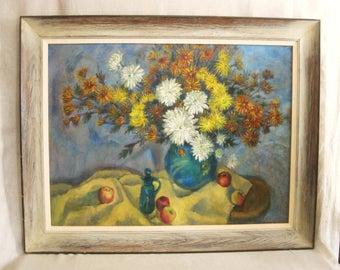 Vintage Mid-Century Still Life Painting, Flowers, Floral Art, Very Large, Framed, Vase of Flowers, Original Fine Art, Large Sofa Painting